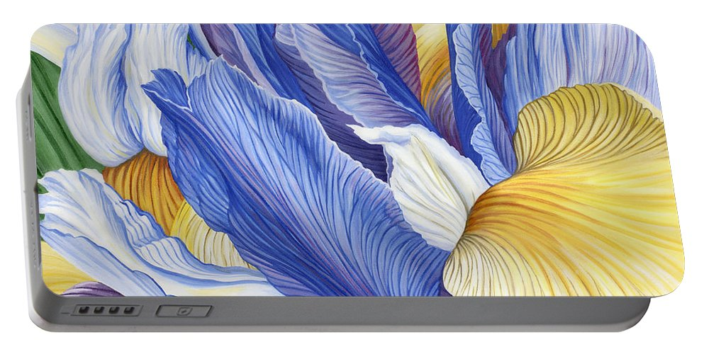 Iris Portable Battery Charger featuring the painting Iris by Jane Girardot
