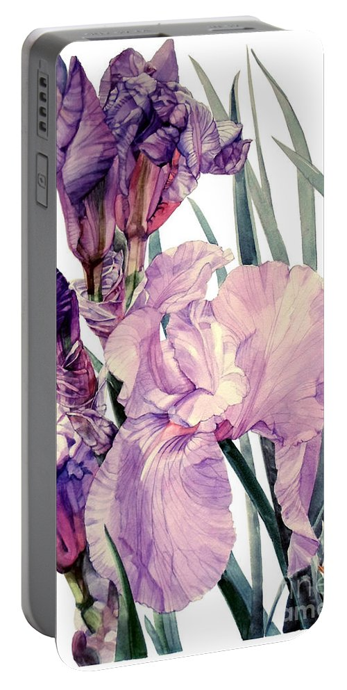 Watercolor Portable Battery Charger featuring the painting Watercolor Of An Elegant Tall Bearded Iris In Pink And Purple I Call Iris Joan Sutherland by Greta Corens