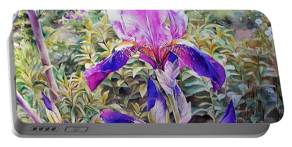 Iris Portable Battery Charger featuring the painting Iris by Ludmila Lomakina