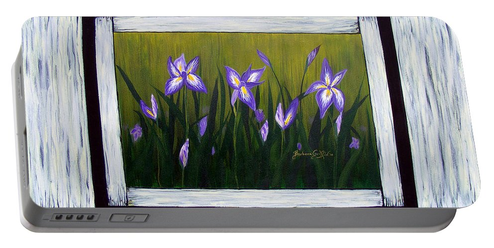 Barbara Griffin Portable Battery Charger featuring the painting Irises And Old Boards - Weathered Wood by Barbara Griffin
