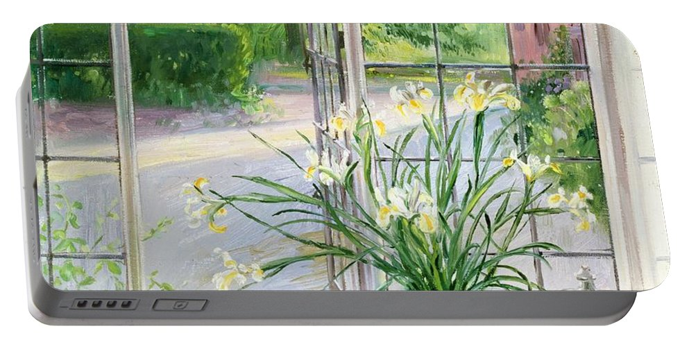 Apple; Lemon; Window; Garden Portable Battery Charger featuring the painting Irises And Sleeping Cat by Timothy Easton