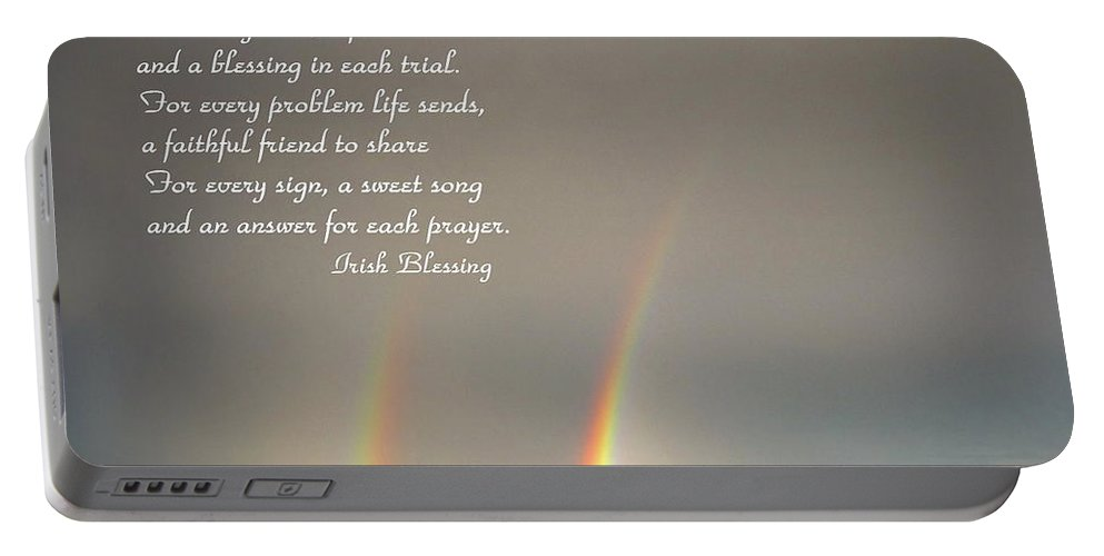Blessing Portable Battery Charger featuring the photograph Irish Blessing Double Rainbow 07 11 14 by Joyce Dickens