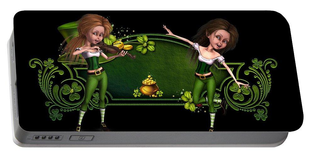 Irish Dancers Portable Battery Charger featuring the digital art Irish dancers ii by John Junek