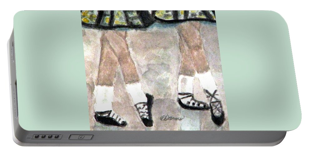 Dancers Portable Battery Charger featuring the painting Irish Lasses by Angela Davies