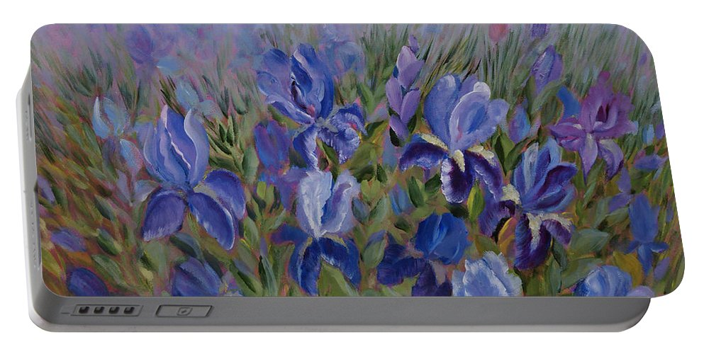 Spring Portable Battery Charger featuring the painting Irises by Jo Smoley
