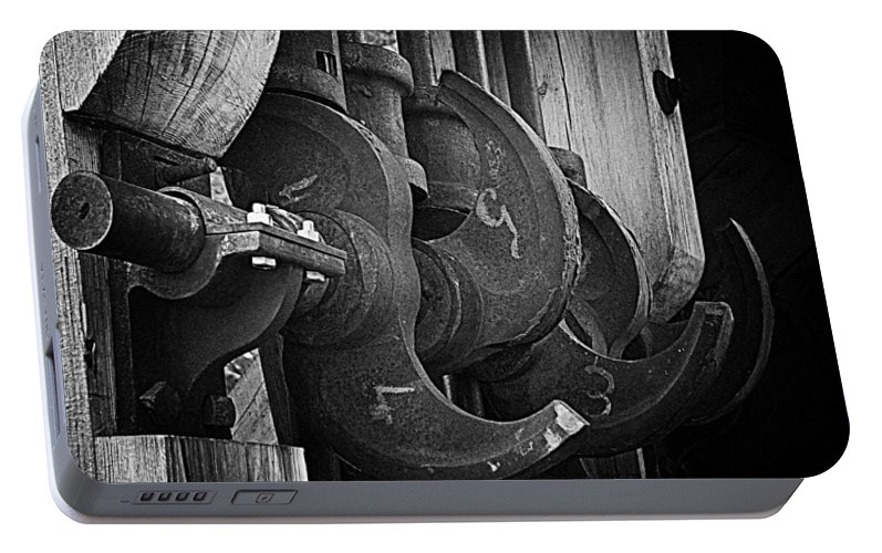 Black And White Portable Battery Charger featuring the photograph Iron And Wood by Mick Burkey