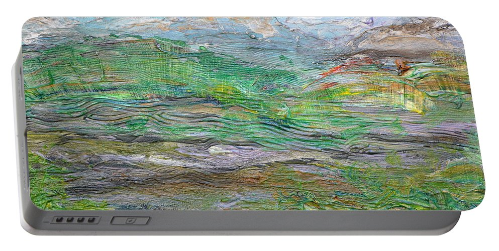 Mountains Portable Battery Charger featuring the painting Iron Hills by Regina Valluzzi