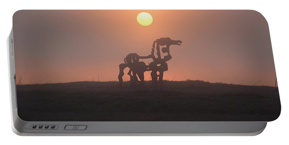 Sunrise Portable Battery Charger featuring the photograph Iron Horse II by Reid Callaway