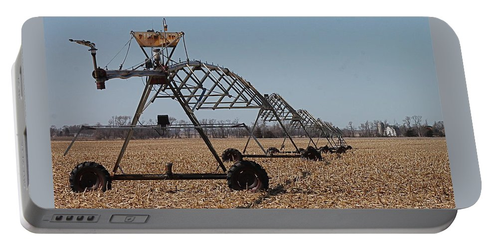 Center Pivot Irrigation Portable Battery Charger featuring the photograph Irrigation Convergence by Wayne Williams