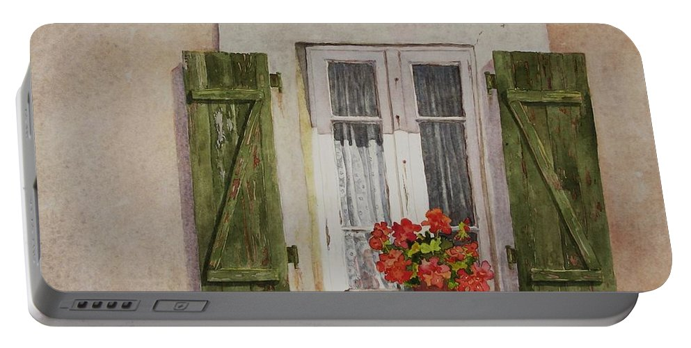 Watercolor Portable Battery Charger featuring the painting Irvillac Window by Mary Ellen Mueller Legault