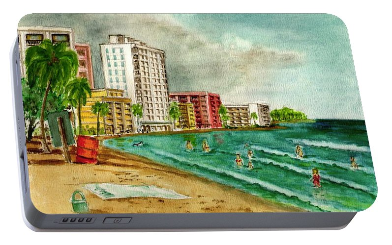 Isla Verde San Juan Puerto Rico Buildings Towel Surf Portable Battery Charger featuring the painting Isla Verde Beach San Juan Puerto Rico by Frank Hunter