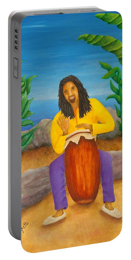 Pamela Allegretto Portable Battery Charger featuring the painting Island Beat by Pamela Allegretto