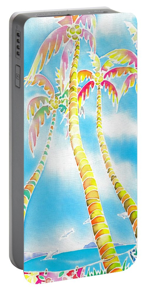 Tahiti Portable Battery Charger featuring the painting Island Breeze by Hisayo Ohta