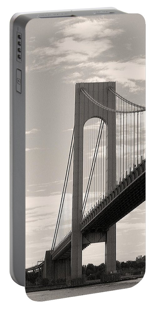 Bridge Portable Battery Charger featuring the photograph Island Bridge Bw by Pablo Rosales