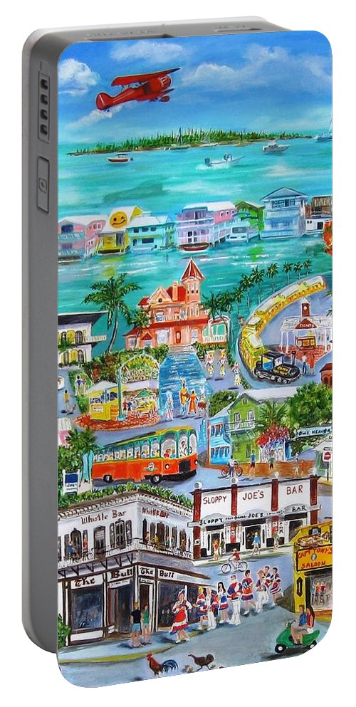 Key West Portable Battery Charger featuring the painting Island Daze by Linda Cabrera