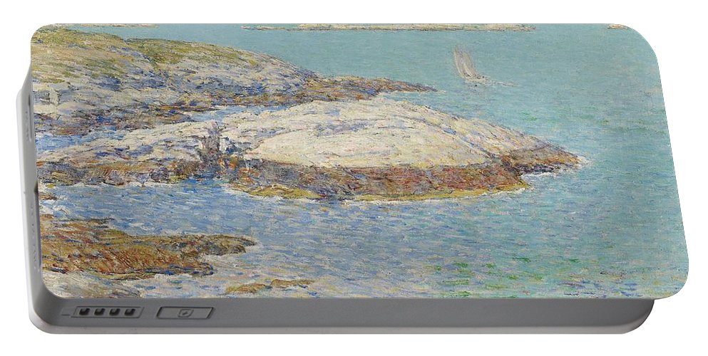 New England; America; American; Landscape; View; Coast; Coastal; Seascape; Us; Usa; United States; New Hampshire; Maine; Summer; Summertime; Isles Of Shoals; Island; Islands; Sailing Boat; Sails; Lighthouse; Rocks; Rocky; Shore; Shoreline; Impressionism; Impressionist; Sea Portable Battery Charger featuring the painting Isles Of Shoals by Childe Hassam