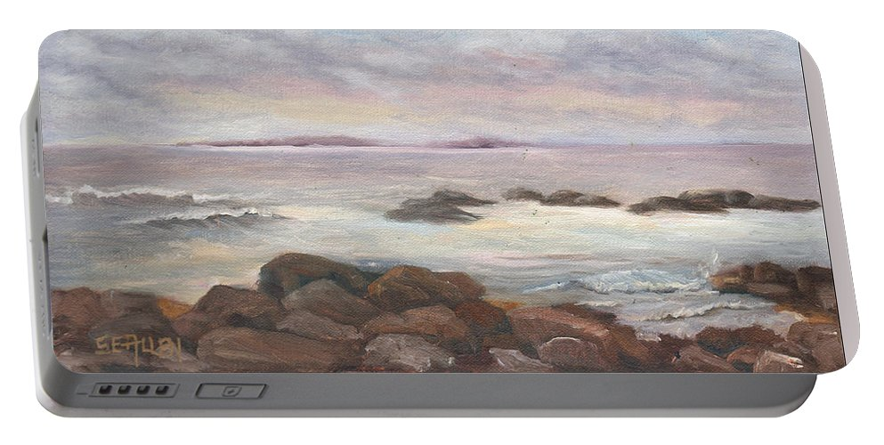 Isles Of Shoals Portable Battery Charger featuring the painting Isles of Shoals from Odiorne Point by Sharon E Allen