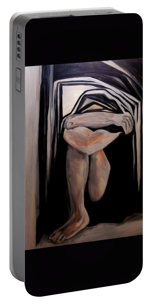 Women Portable Battery Charger featuring the painting Isolation by Carolyn LeGrand