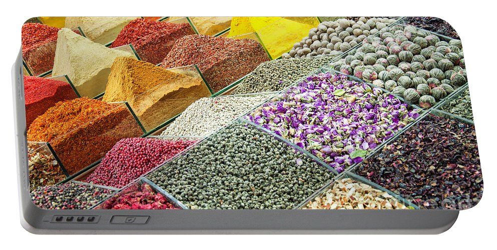 Istanbul Portable Battery Charger featuring the photograph Istanbul Egyptian Spice Market 01 by Antony McAulay