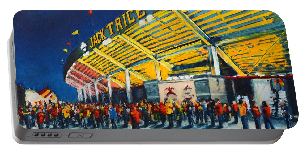 Iowa Portable Battery Charger featuring the painting Isu - Jack Trice Stadium by Robert Reeves