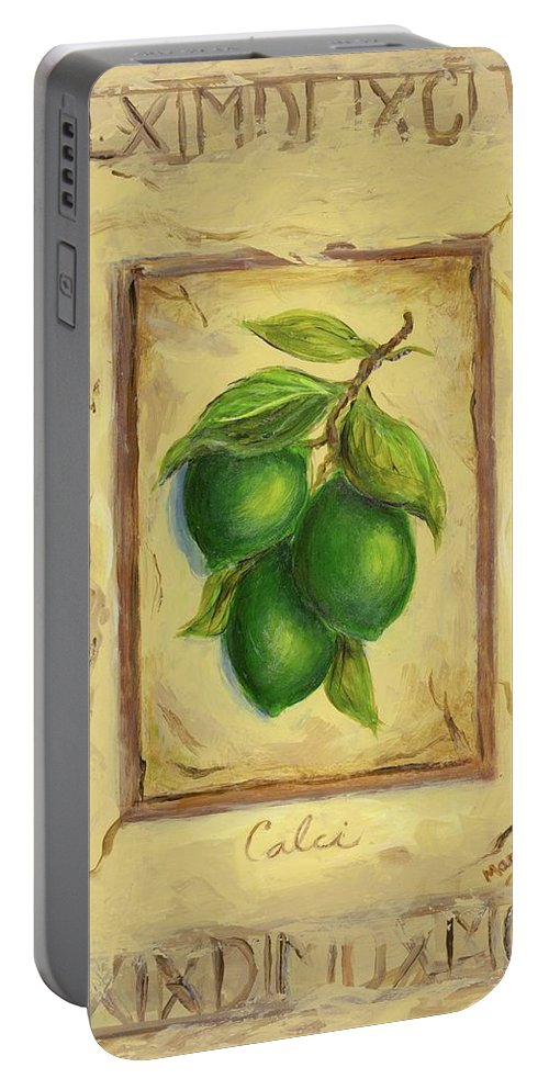 Italy Portable Battery Charger featuring the painting Italian Fruit Limes by Marilyn Dunlap