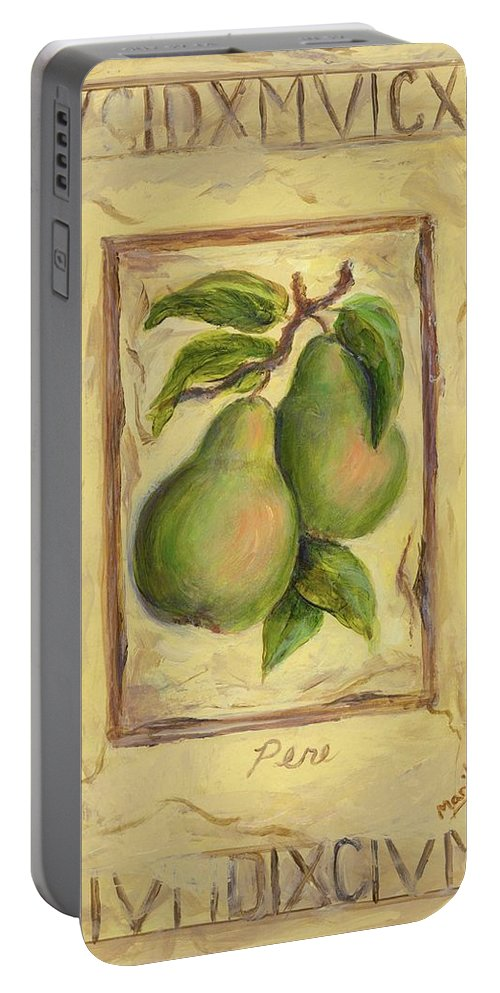 Italy Portable Battery Charger featuring the painting Italian Fruit Pears by Marilyn Dunlap