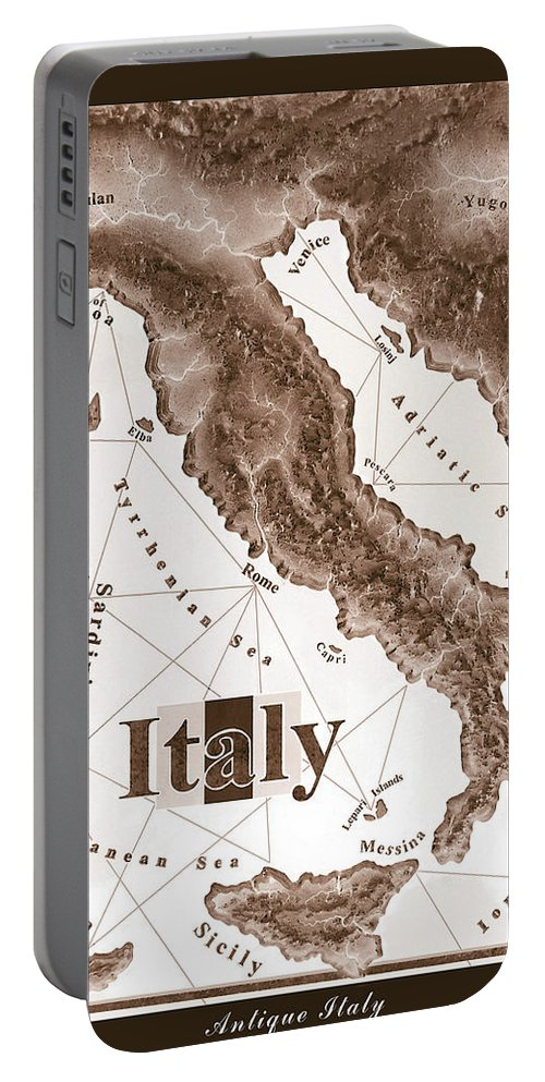 Italian Portable Battery Charger featuring the mixed media Italian Map by Curtiss Shaffer