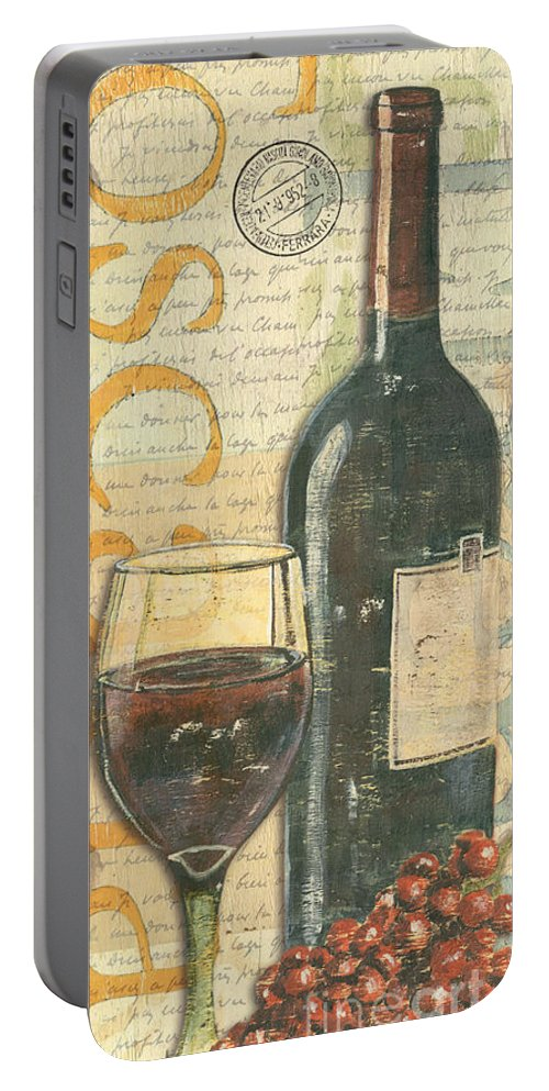 Wine Portable Battery Charger featuring the painting Italian Wine and Grapes by Debbie DeWitt
