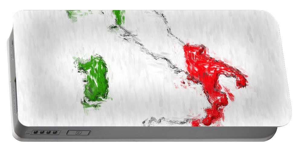 Italy Portable Battery Charger featuring the photograph Italy Painted Flag Map by Antony McAulay