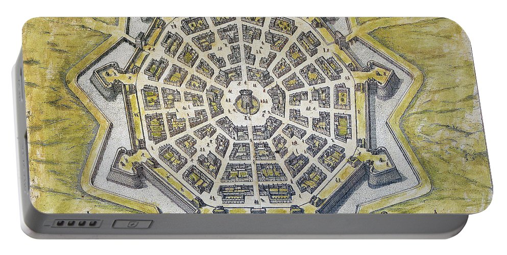 1598 Portable Battery Charger featuring the photograph Italy: Palmanova Map, 1598 by Granger