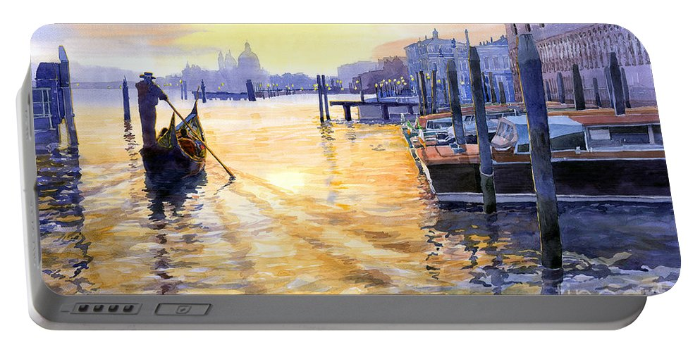 Watercolor Portable Battery Charger featuring the painting Italy Venice Dawning by Yuriy Shevchuk