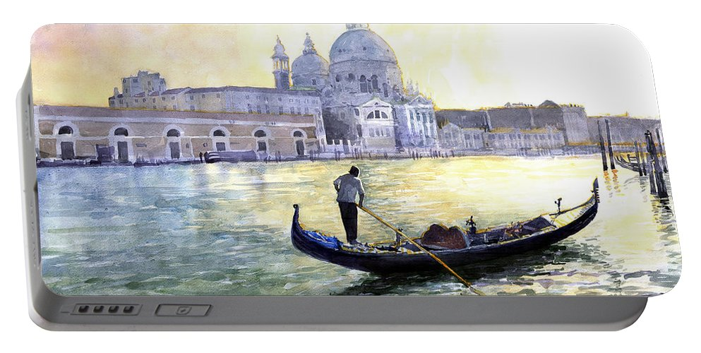 Watercolor Portable Battery Charger featuring the painting Italy Venice Morning by Yuriy Shevchuk