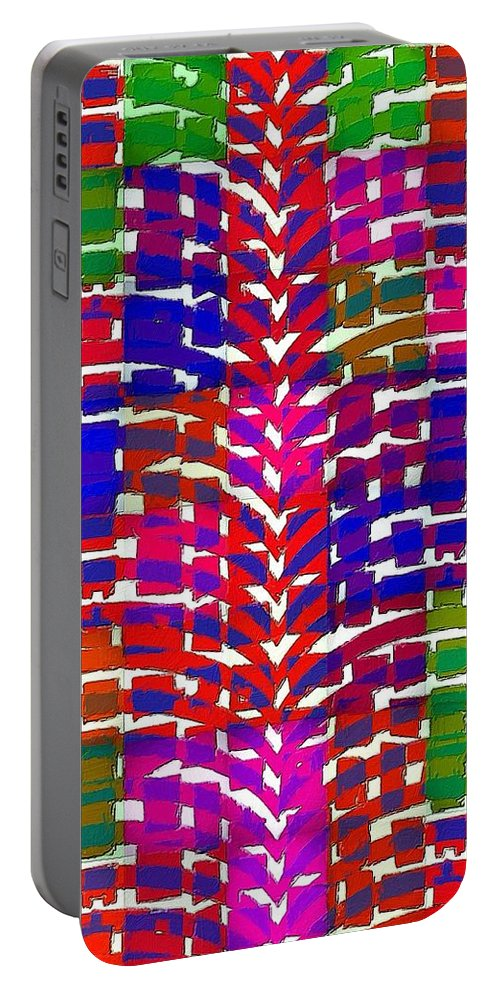 Abstract Portable Battery Charger featuring the painting It's A Strange Strange World by Florian Rodarte