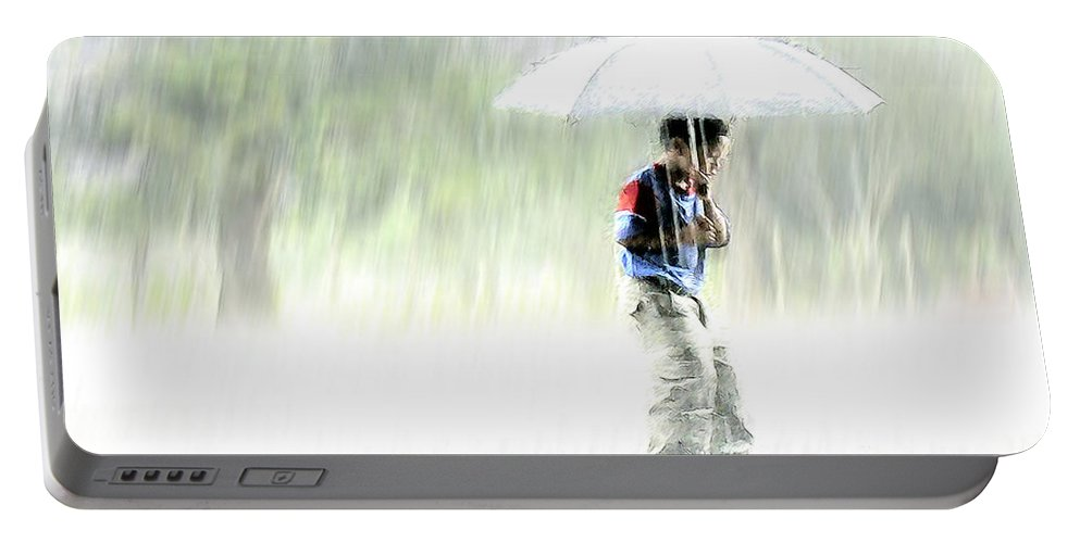 Children Portable Battery Charger featuring the photograph It's Raining Outside by Heiko Koehrer-Wagner
