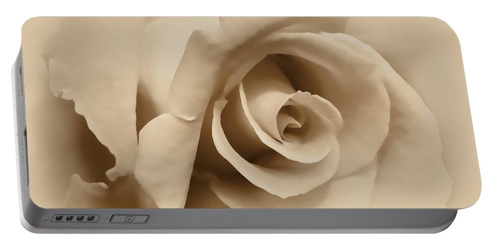 Rose Portable Battery Charger featuring the photograph Ivory Brown Rose Flower by Jennie Marie Schell