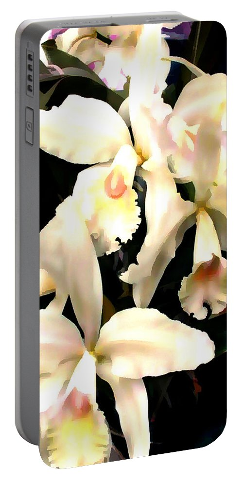 Orchid Portable Battery Charger featuring the painting Ivory Cattleya Orchids by Elaine Plesser