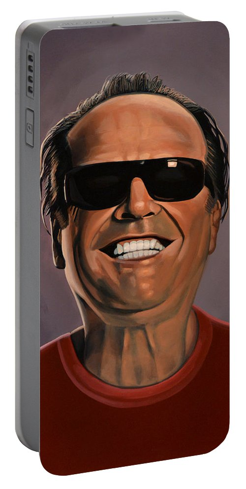 Jack Nicholson Portable Battery Charger featuring the painting Jack Nicholson 2 by Paul Meijering