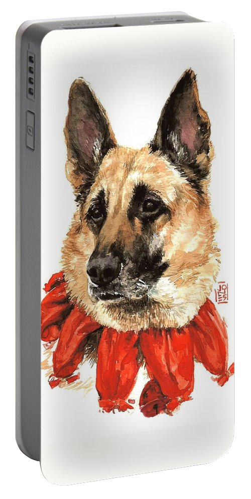 Holiday Greeting Card Portable Battery Charger featuring the painting Jackie by Debra Jones