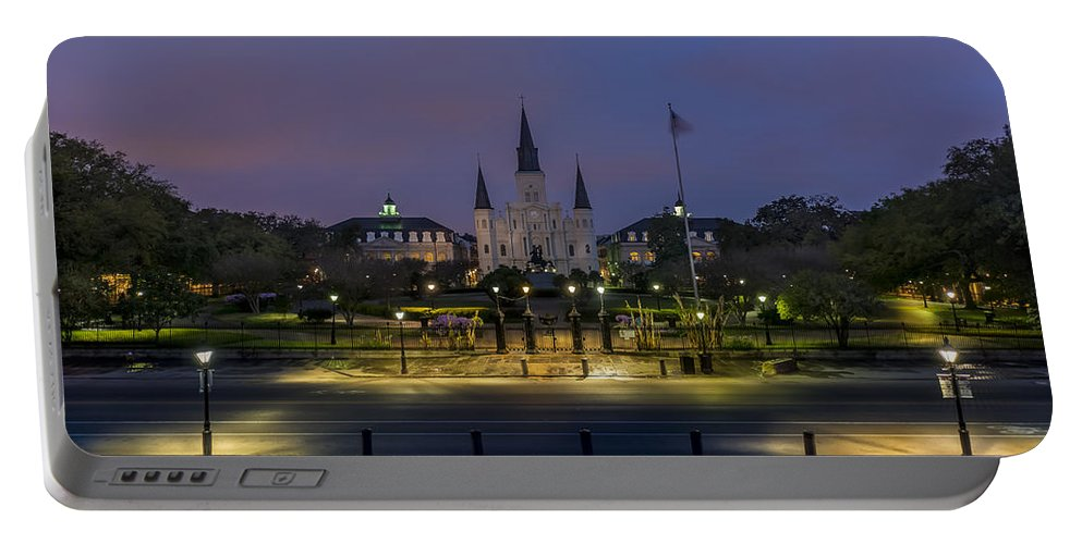 Jackson Square At Sunrise Portable Battery Charger featuring the photograph Jackson Square Sunrise by David Morefield
