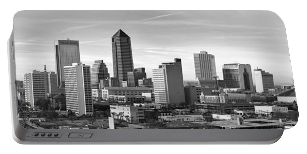 Jacksonville Skyline Portable Battery Charger featuring the photograph Jacksonville Skyline Morning Day Black And White Bw Panorama Florida by Jon Holiday