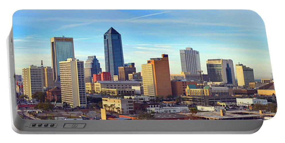 Jacksonville Skyline Portable Battery Charger featuring the photograph Jacksonville Skyline Morning Day Color Panorama Florida by Jon Holiday