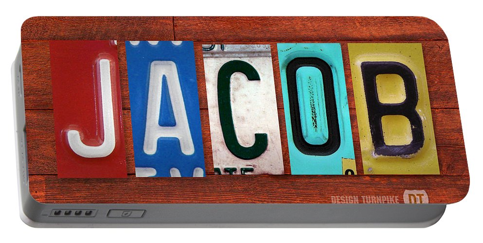 License Portable Battery Charger featuring the mixed media Jacob License Plate Name Sign Fun Kid Room Decor. by Design Turnpike