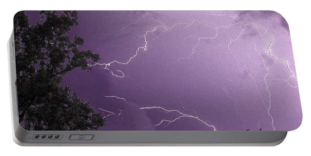 Lightening Portable Battery Charger featuring the photograph Jagged Skies by Kathy McCabe