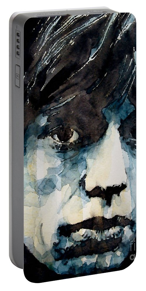 Mick Jagger Portable Battery Charger featuring the painting Jagger no3 by Paul Lovering