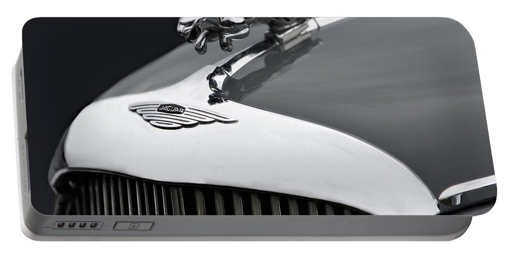 Grill Portable Battery Charger featuring the photograph Jaguar Mk Ix Hood by Susan Candelario