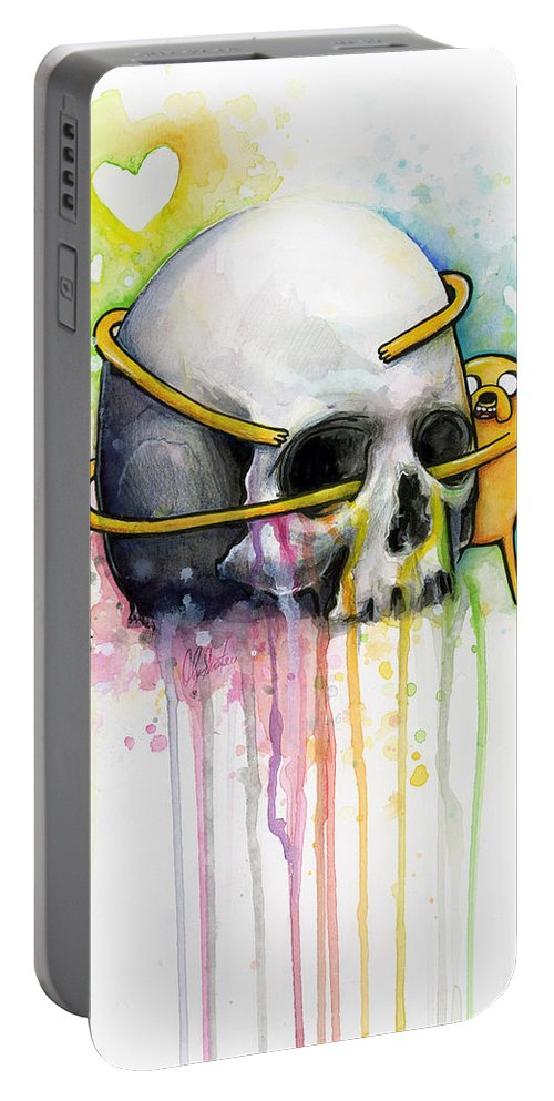 Adventure Time Portable Battery Charger featuring the painting Jake The Dog Hugging Skull Adventure Time Art by Olga Shvartsur