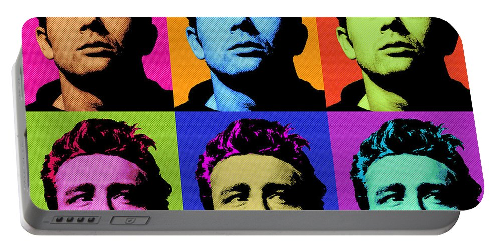 James Dean Portable Battery Charger featuring the digital art James Dean 006 by Bobbi Freelance
