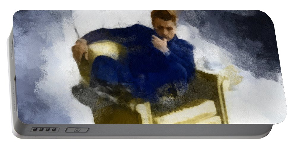 Art Portable Battery Charger featuring the digital art James Dean In Yellow Leather Chair by Paulette B Wright