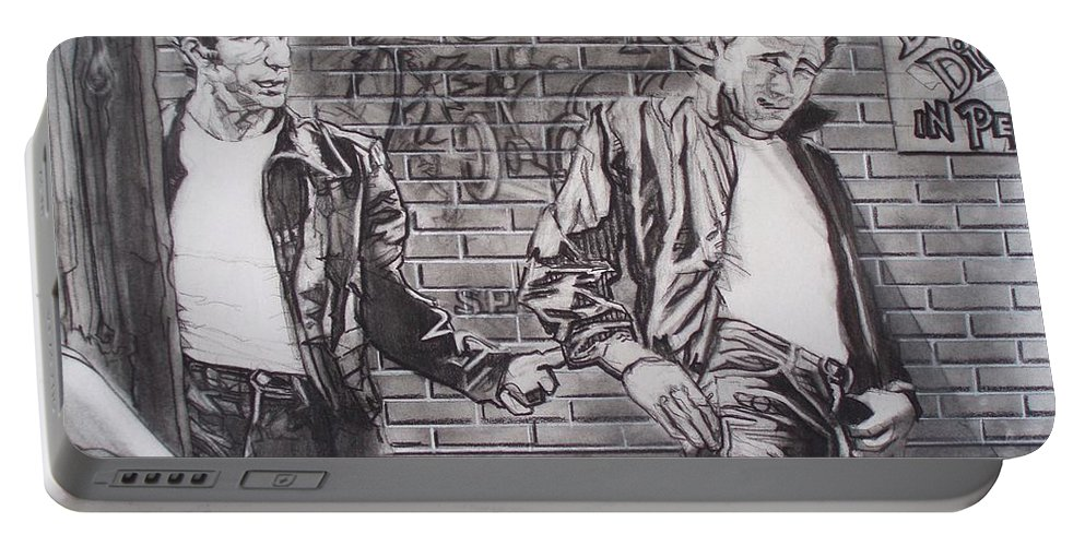 Americana Portable Battery Charger featuring the drawing James Dean Meets The Fonz by Sean Connolly