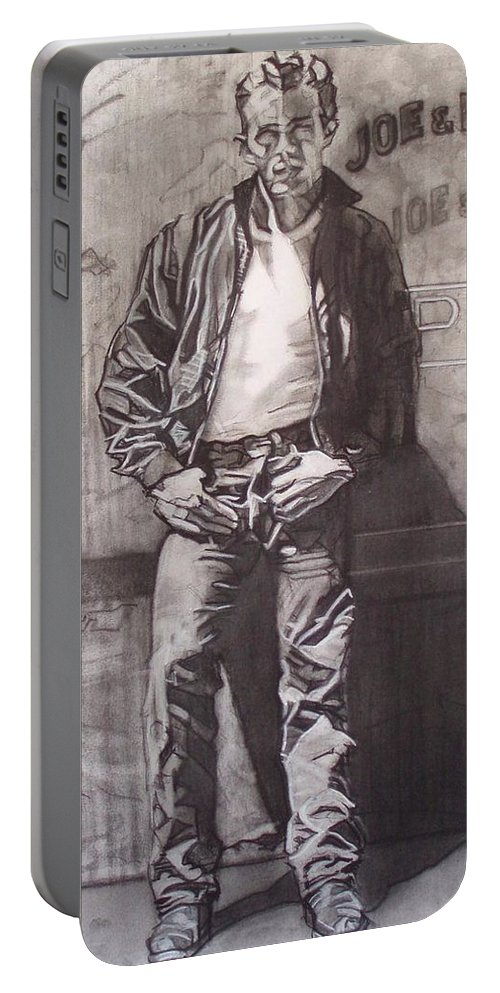Charcoal; Icon;americana;cool;window;sidewalk;street;rock And Roll;jeans;t-shirt;diner;movie Star Portable Battery Charger featuring the drawing James Dean by Sean Connolly